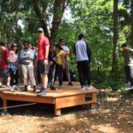 Leadership challenge course in forest