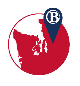 BC logo inside map of Seattle area