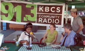 Sonya Green, news and public affairs director at 91.3 KBCS (left), Sue Popma, marketing director of the Crossroads Shopping Center, Roz Liming, Crossroads marketing manager, and Bruce Wirth, KBCS program manager.