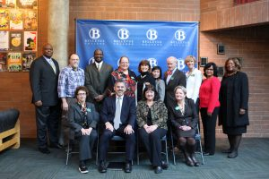 The WA State Supreme Court justices pose with members of Belleuve College's president's cabinet