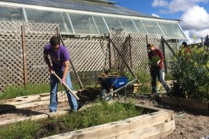 Students work on garden at Earth Week