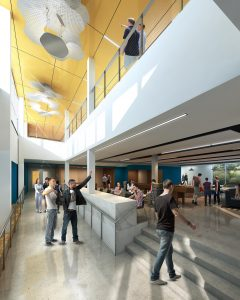 The facility will house a number of community spaces, including a lounge with a café on the first floor, as well as private study areas. Rendering courtesy of NAC.