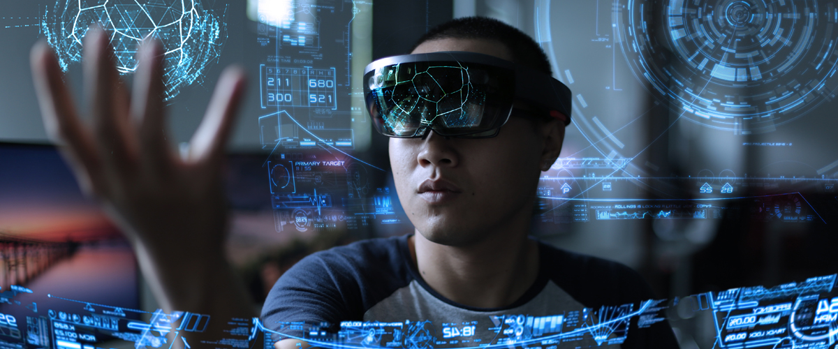 Photo of a student wearing VR glasses