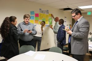 Faculty and staff participating in a student success exercise