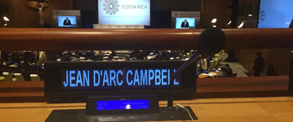 Jean D'Arc Campbell's nameplate at the United Nations