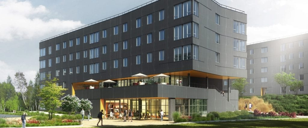 Architectural rendering of the residence hall
