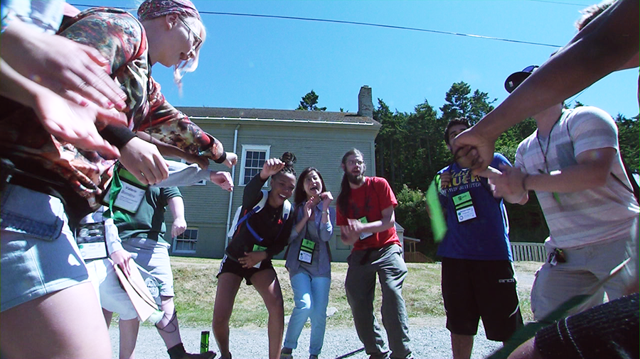Students building excitement for the field exercises at Camp Casey. Click to view video.