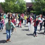 Flashmob club in the courtyard