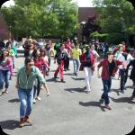 Flashmob students dancing