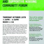 Poster for community form for Eastside shelter on October 20