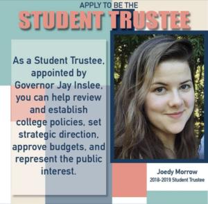 Joedy Morrow, Student Trustee