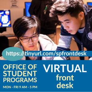 Student getting help from our student staff. Our Virtual Front Desk is at