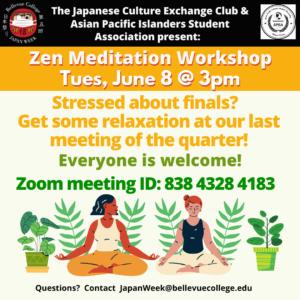 Zen Meditation on Zoom, Event meeting ID 838 4328 4183