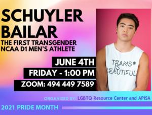Meet Schuyler Bailar on Zoom Friday, June 4th at 1:00pm https://bellevuecollege.zoom.us/j/4944497589 Meeting ID: 494 449 7589