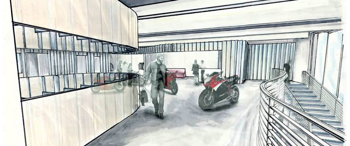 Interior Building Design with motorcycle (Student Work)