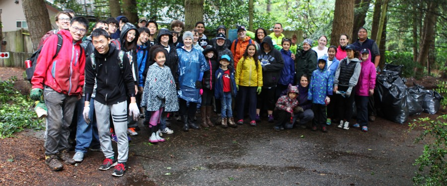 Despite the rain, a group of BC volunteers helped beautify Robinswood Park on BC Cares Day