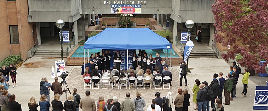 Civic leaders speak at the homecoming launch event in the BC courtyard