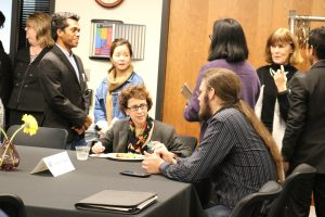 Justice Sheryl Gordon McCloud has lunch with a BC student.