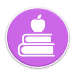 image of a stack of books with an apple on top