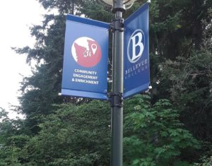 BC Logo on sign attached to street light