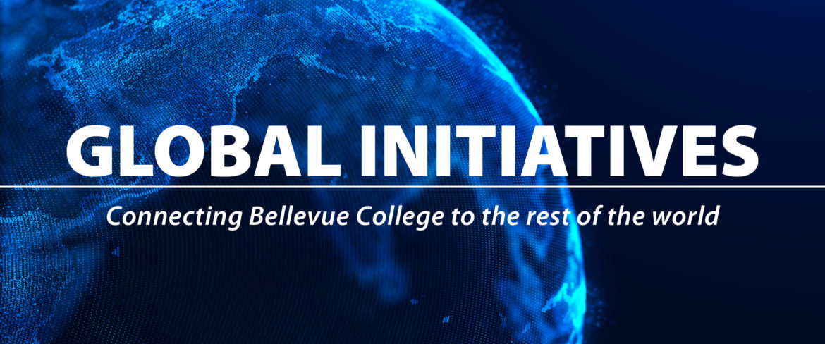 Global Initiatives Connecting Bellevue College to the rest of the world slider with a Globe - Wireframe image