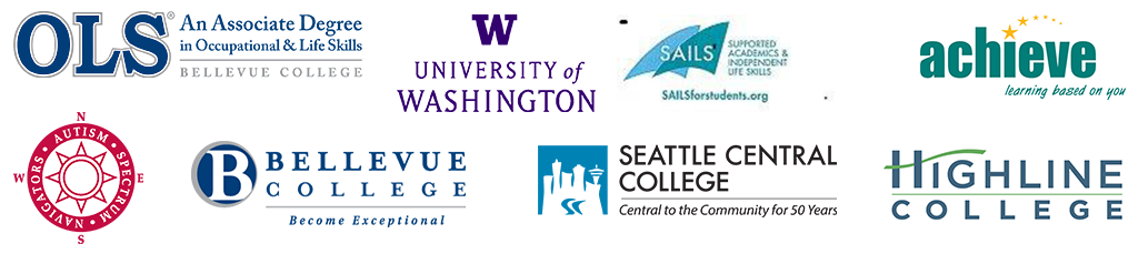 Logos of presenting partners: OLS Bellevue College, Autism Spectrum Navigators, University of Washington, SAILS Seattle Central College, Achieve Highline College