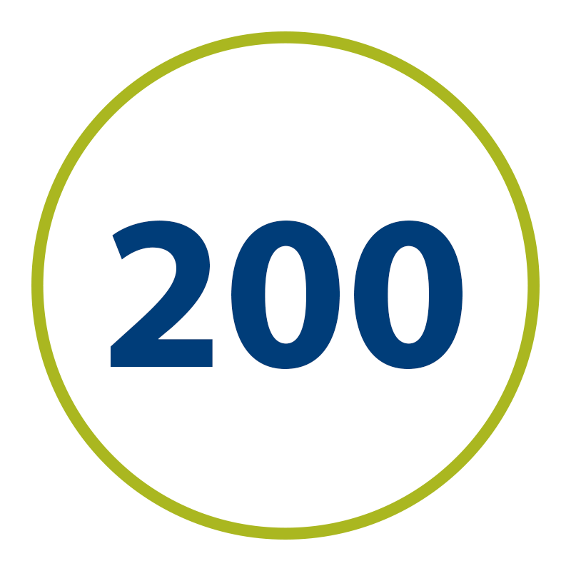 graphic of green circle with the number 200 inside, representing the number of hours OLS students do for their internships.