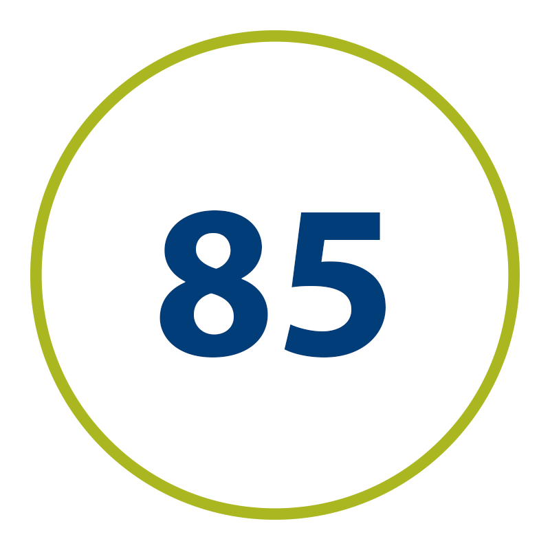graphic of green circle with the number 85 inside, representing the percentage of OLS graduates who are employed after gradaution.