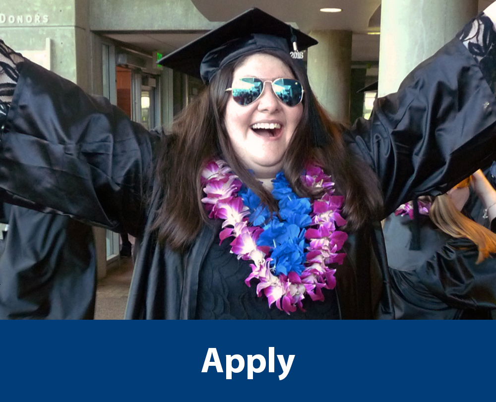 "OLS Graduate smiling with her arms in the air in a graduation cap and gown with text ""Apply"" a the bottom of the photo. Click photo to be redirected to the Admissions webpage."