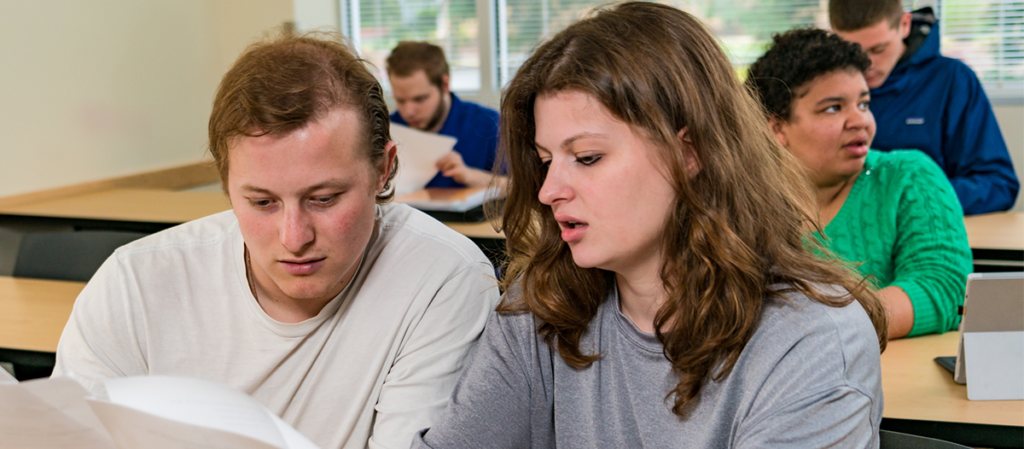 Two OLS students work together in class