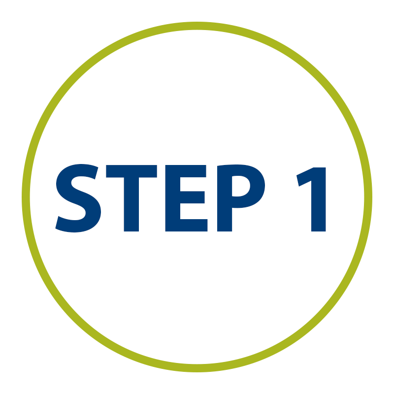 graphic: STEP ONE in green circle