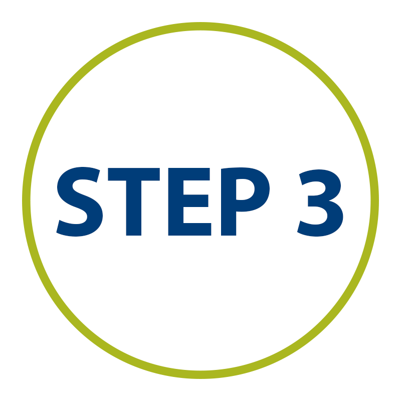 graphic: Step Three in green circle