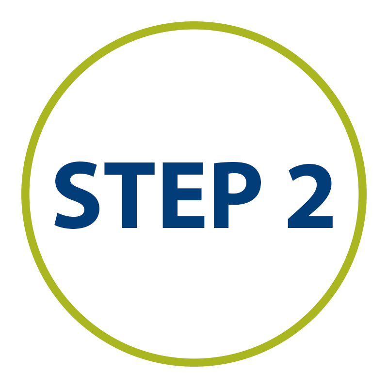 graphic: Step two in green circle