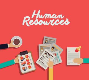 Graphic with text 'Human Resources', with illustration of hands working on charts and graphs