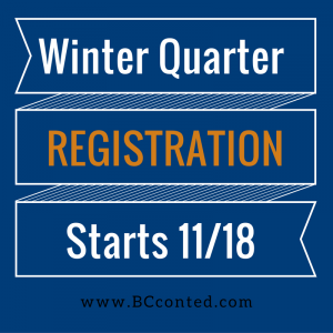 Winter Quarter Registration Starts 11/18