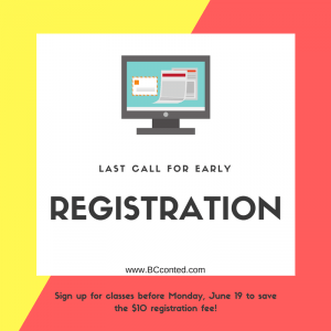 Early registration graphic