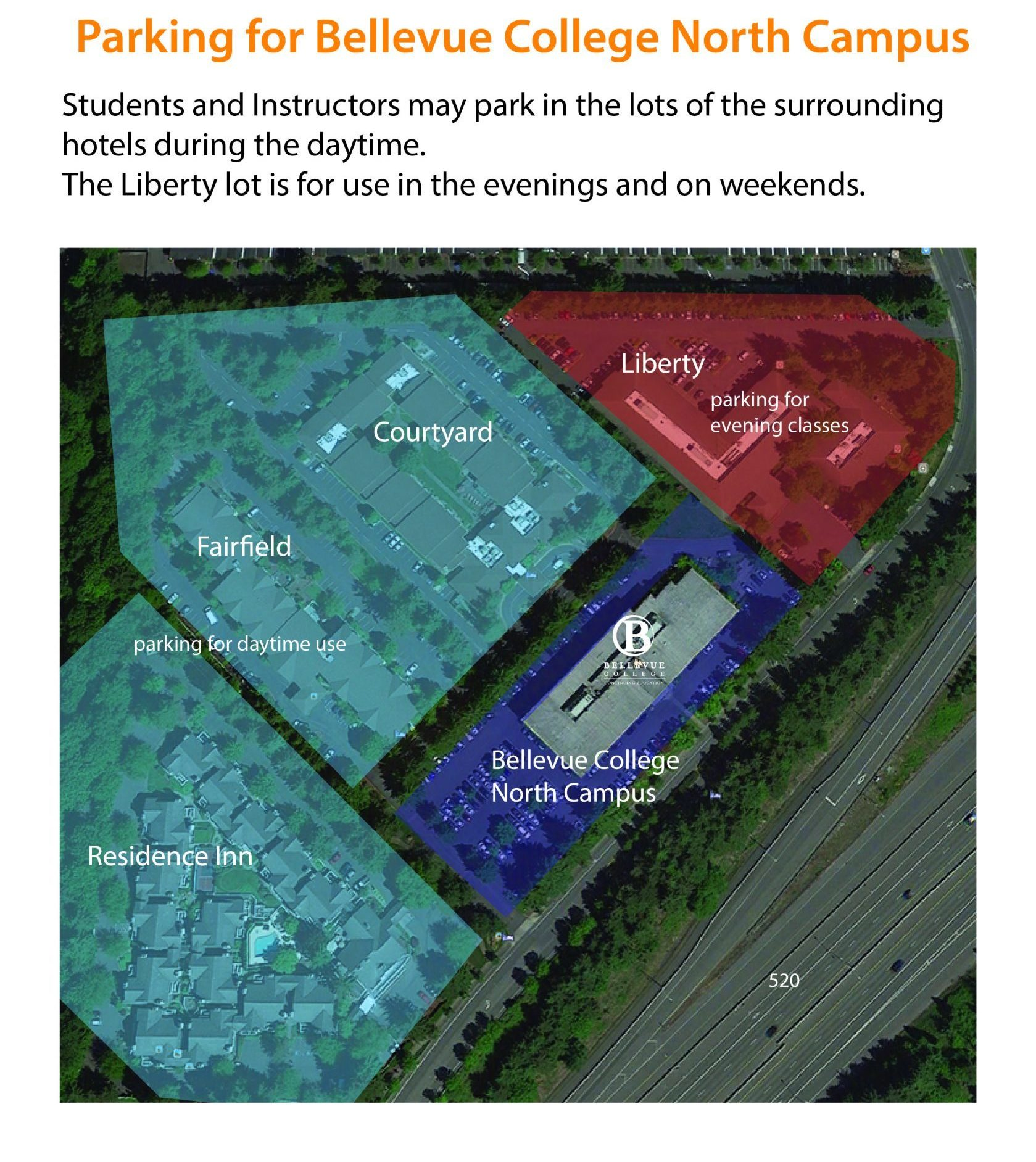 Parking lot map for North Campus