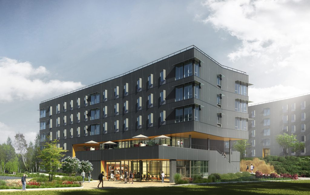 Artist rendering of proposed student housing building