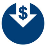 Arrow pointing down with dollar sign in middle