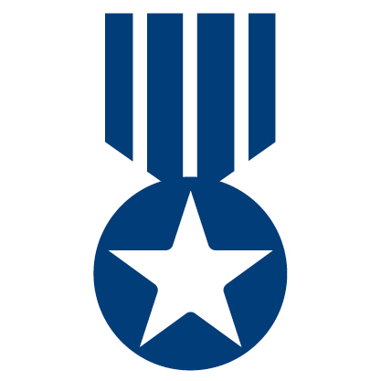 blue medal icon with star in middle of circle