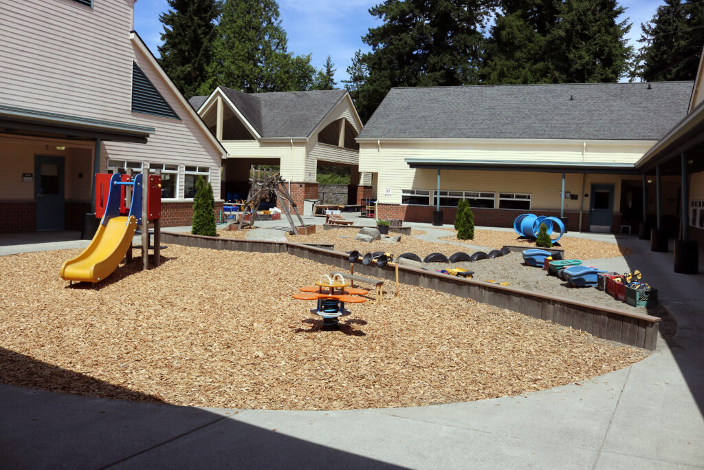 Outdoor playground at the Early Learning Center on Bellevue College's main campus.