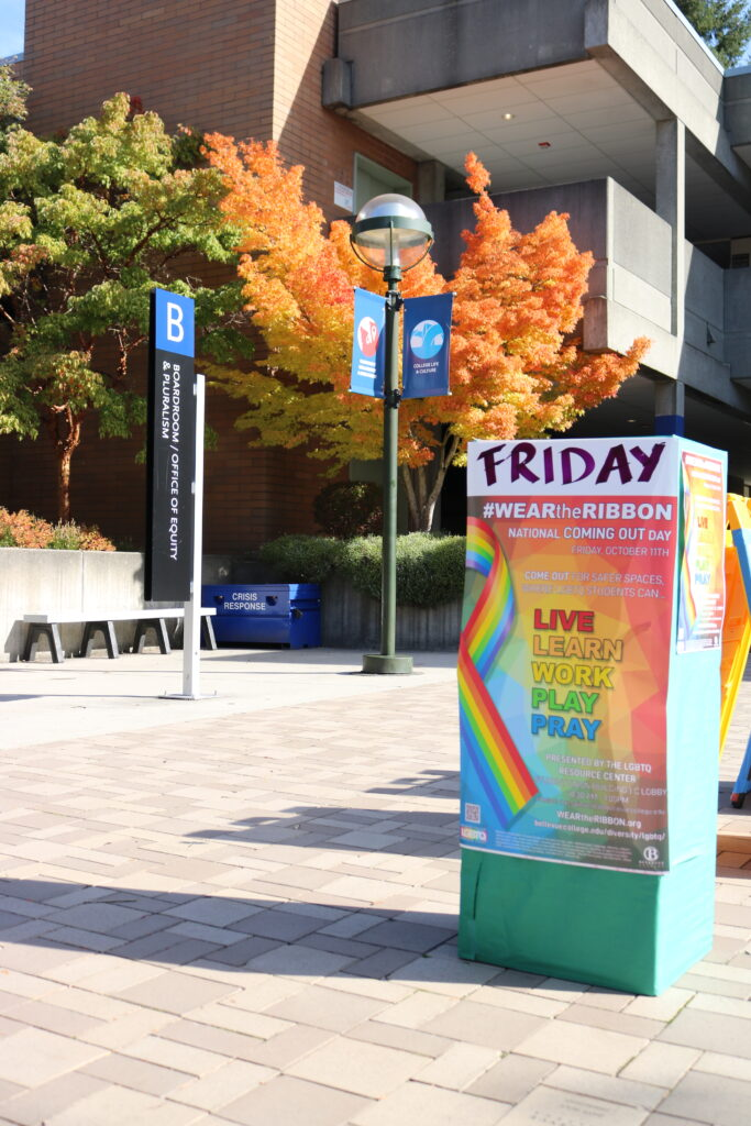 National Coming Out Day promotion on Bellevue College campus