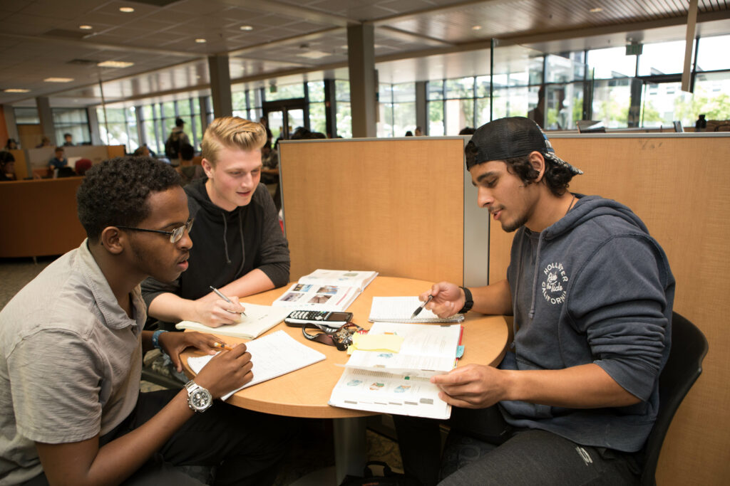 Black male student and white male student working on an assignment together while looking at a textbook.