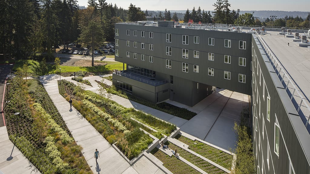 Aerial view of garden and courtyard outside Bellevue College student housing.