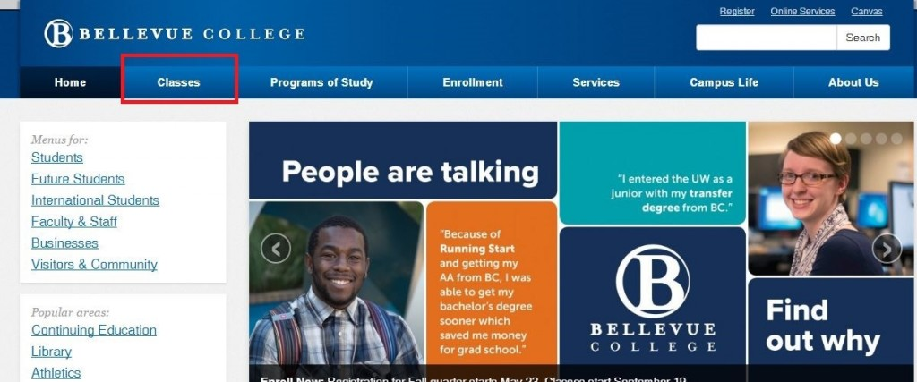Bellevue College website home, classes tab highlighted