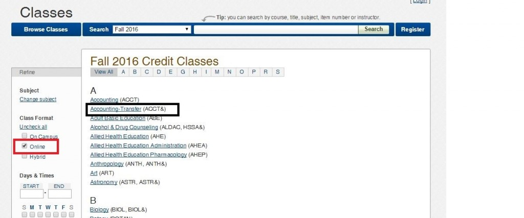 Fall Credit Classes webpage, online format and accounting-transfer are highlighted