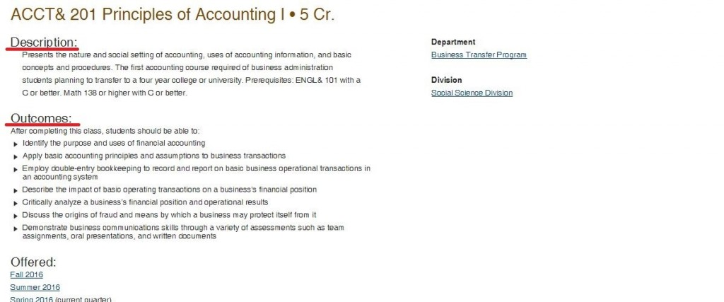 Accounting transfer course description and outcomes
