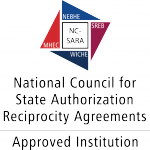 Red, white and blue logo for the National Council for State Authorization Reciprocity Agreements