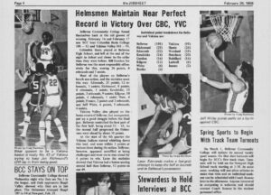 Basketball coverage from the school newspaper, The Jibsheet, on Feb. 26, 1968