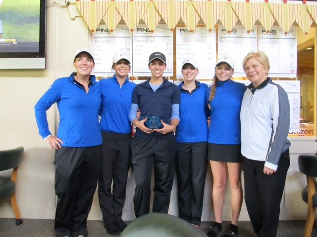 The BC women's team with medalist Sam Saleba (center) captured the Ann Swanson Cup at Trophy Lake.